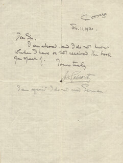JOHN GALSWORTHY - AUTOGRAPH LETTER SIGNED 02/11/1930