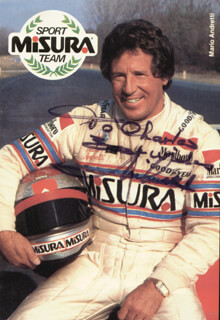 MARIO ANDRETTI - INSCRIBED PICTURE POSTCARD SIGNED