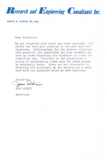 Autographs: JOAN (MRS. BUZZ) ALDRIN - TYPED LETTER SIGNED