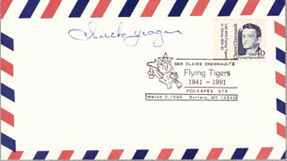 BRIGADIER GENERAL CHUCK YEAGER - COMMEMORATIVE ENVELOPE SIGNED
