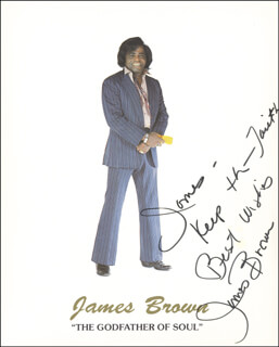 Autographs: JAMES GODFATHER OF SOUL BROWN - INSCRIBED PRINTED PHOTOGRAPH SIGNED IN INK