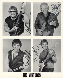 THE VENTURES - AUTOGRAPHED SIGNED PHOTOGRAPH CO-SIGNED BY: THE VENTURES (DON WILSON), THE VENTURES (BOB BOGLE), THE VENTURES (MEL TAYLOR), THE VENTURES (GERRY MCGEE)