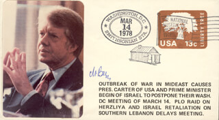 Autographs: PRIME MINISTER MENACHEM BEGIN (ISRAEL) - COMMEMORATIVE ENVELOPE SIGNED