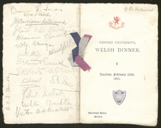 Autographs: KING EDWARD VIII (GREAT BRITAIN) - MENU SIGNED CIRCA 1913 CO-SIGNED BY: SIR JOHN RHYS, WALTER (VISCOUNT MONCKTON I) MONCKTON, E. VINCENT EVANS, ENOS HERBERT GLYNNE E. H. G. ROBERTS