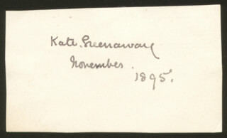 KATE GREENAWAY - AUTOGRAPH 11/1895