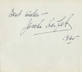 JASCHA HEIFETZ - AUTOGRAPH SENTIMENT SIGNED 1935 CO-SIGNED BY: ANIA DORFMANN