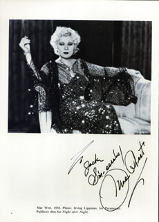 MAE WEST - INSCRIBED BOOK PHOTOGRAPH SIGNED