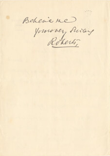 FIELD MARSHAL FREDERICK 1ST EARL ROBERTS ROBERTS - AUTOGRAPH LETTER SIGNED 12/22/1910