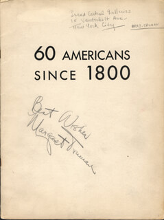 MARGARET TRUMAN - PROGRAM COVER SIGNED