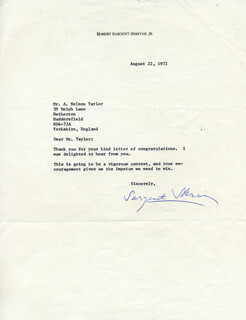 SARGENT SHRIVER - TYPED LETTER SIGNED 08/22/1972