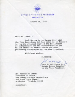 JOHN H. MULLIKEN JR. - TYPED LETTER SIGNED 08/18/1976
