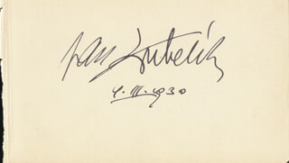 JAN KUBELIK - AUTOGRAPH 03/09/1930 CO-SIGNED BY: HARRY WELCHMAN