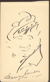 SIR HARRY M. LAUDER - SELF-CARICATURE SIGNED 01/13/1948