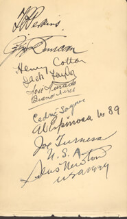 SIR THOMAS HENRY COTTON - AUTOGRAPH CO-SIGNED BY: JOE TURNESA, AL (ABEL RUBEN) ESPINOSA, JOSE TURADO, GEORGE DUNCAN, THOMAS P. PERKINS, PERCY ALLISS, CHARLES A. WHITCOMBE, CHARLES M. (CHARLIE) BUCHAN, SILAS NEWTON, AUBREY BOOMER
