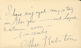 ESTHER RALSTON - AUTOGRAPH NOTE SIGNED