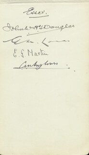 Autographs: ESSEX COUNTY CRICKET CLUB - SIGNATURE(S) CO-SIGNED BY: JOHN W. H. T. JOHNNY DOUGLAS, COMMANDER EVELYN GEORGE MARTIN, G. M. LOCKS, LT. COLONEL C. J. H. TREGLOWN