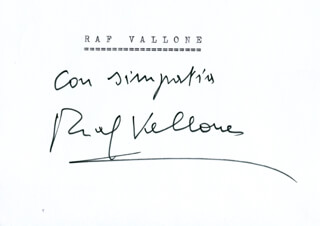 RAF VALLONE - AUTOGRAPH SENTIMENT SIGNED