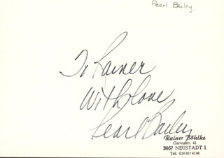 PEARL BAILEY - AUTOGRAPH NOTE SIGNED  - HFSID 166710