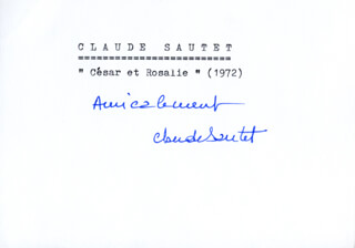 CLAUDE SAUTET - PRINTED CARD SIGNED IN INK