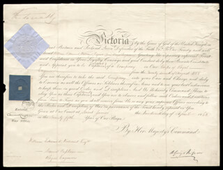 Autographs: QUEEN VICTORIA (GREAT BRITAIN) - MILITARY APPOINTMENT SIGNED 04/19/1862 CO-SIGNED BY: 1ST MARQUESS OF RIPON (GEORGE F. S. ROBINSON)