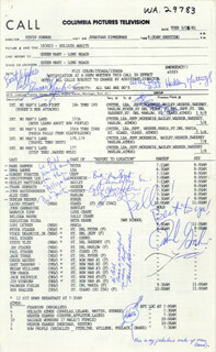 GOLIATH AWAITS MOVIE CAST - DOCUMENT SIGNED CIRCA 1981 CO-SIGNED BY: JOHN RATZENBERGER, HEDLEY MATTINGLY, DUNCAN REGHER, CHRISTOPHER LEE, FRANK GORSHIN, MARK HARMON, EMMA SAMMS, ROBERT FORSTER