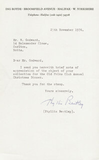 PHYLLIS BENTLEY - TYPED LETTER SIGNED 11/25/1976