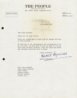 ARTHUR HELLIWELL - TYPED LETTER SIGNED 10/29/1963