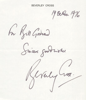 BEVERLEY CROSS - AUTOGRAPH NOTE SIGNED 10/19/1976