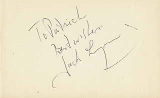 JACK LYNN - AUTOGRAPH NOTE SIGNED