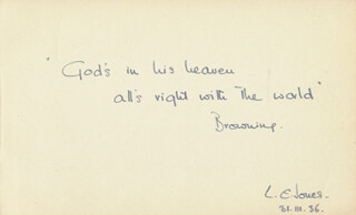 BARON LAWRENCE EVELYN (FIFTH BARONET) JONES - AUTOGRAPH QUOTATION SIGNED 03/31/1936