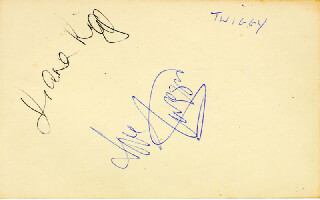 TWIGGY - AUTOGRAPH CO-SIGNED BY: MICHAEL ASPEL, DIANA RIGG
