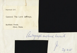 MAJOR GENERAL GEORGE (1ST BARON JEFFREYS) JEFFREYS - AUTOGRAPH NOTE SIGNED 10/29/1955