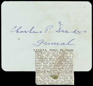 Autographs: GENERAL CHARLES P. DEEDES - SIGNATURE(S)
