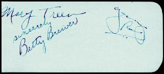 GEORGE SUPERMAN REEVES - AUTOGRAPH CO-SIGNED BY: HARRY DAVENPORT, BETTY BREWER, MARY TREEN