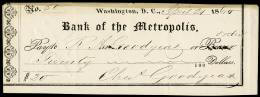 CHARLES GOODYEAR - AUTOGRAPHED SIGNED CHECK 04/21/1860