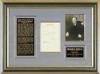 Autographs: ASSOCIATE JUSTICE WILLIAM O. DOUGLAS - TYPED LETTER SIGNED 10/04/1972