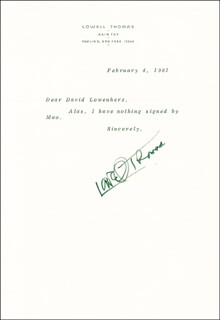 LOWELL THOMAS - TYPED LETTER SIGNED 02/04/1981