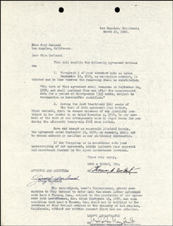 Autographs: JUDY GARLAND - CONTRACT SIGNED 03/23/1940 CO-SIGNED BY: ETHEL M. GARLAND