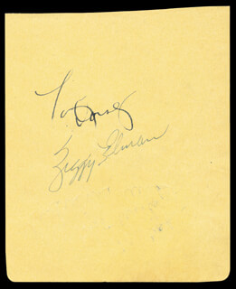 TOMMY DORSEY - AUTOGRAPH CO-SIGNED BY: ZIGGY ELMAN, ADRIENNE AMES