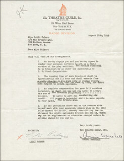 LILLI PALMER - CONTRACT SIGNED 08/30/1949 CO-SIGNED BY: ARMINA MARSHALL
