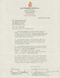 BURGESS MEREDITH - CONTRACT SIGNED 09/18/1952 CO-SIGNED BY: ARMINA MARSHALL