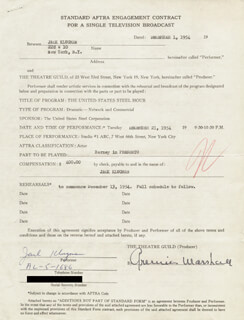 JACK KLUGMAN - DOCUMENT SIGNED 12/01/1954 CO-SIGNED BY: ARMINA MARSHALL