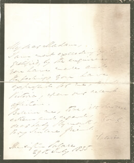 Autographs: DUCHESS OF KENT (PRINCESS VICTORIA OF SAXE-COBURG-SAALFED) - MANUSCRIPT LETTER SIGNED 07/29/1835