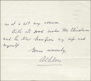 Autographs: EARL OF ATHLONE - AUTOGRAPH LETTER SIGNED 12/21/1947