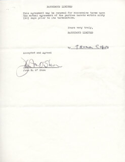 TRUMAN CAPOTE - CONTRACT SIGNED 03/17/1975 CO-SIGNED BY: JOHN M. O'SHEA