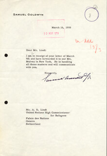 SAMUEL GOLDWYN - TYPED LETTER SIGNED 03/16/1959