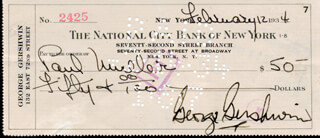 GEORGE GERSHWIN - AUTOGRAPHED SIGNED CHECK 02/12/1934