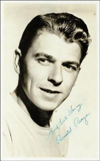 PRESIDENT RONALD REAGAN - INSCRIBED PICTURE POSTCARD SIGNED CIRCA 1941