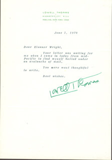 LOWELL THOMAS - TYPED LETTER SIGNED 06/01/1978