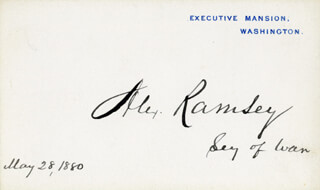 Autographs: ALEXANDER RAMSEY - WHITE HOUSE CARD SIGNED 05/28/1880
